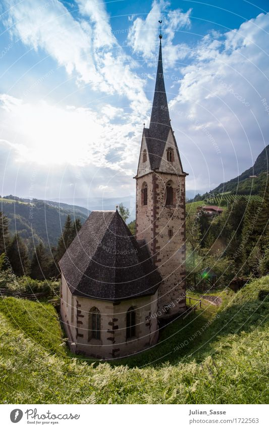 village church Nature Clouds Sun Summer Beautiful weather Tree Grass Bushes Forest Rock Alps Mountain Village Deserted Church Manmade structures Building