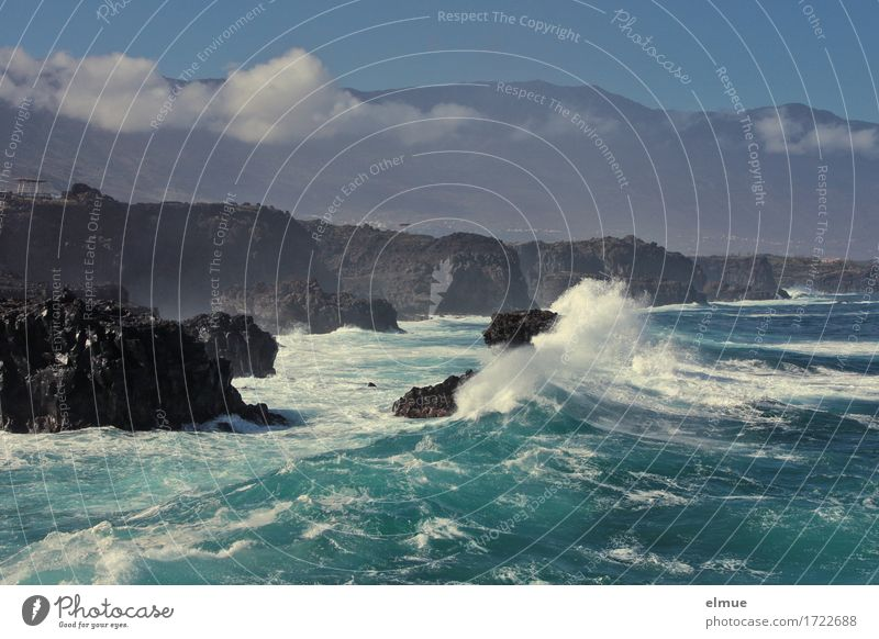 stormy Vacation & Travel Adventure Cruise Elements Water Clouds Climate Gale Rock Ocean Atlantic Ocean Island El Hierro Waves Wave action Aggression Threat