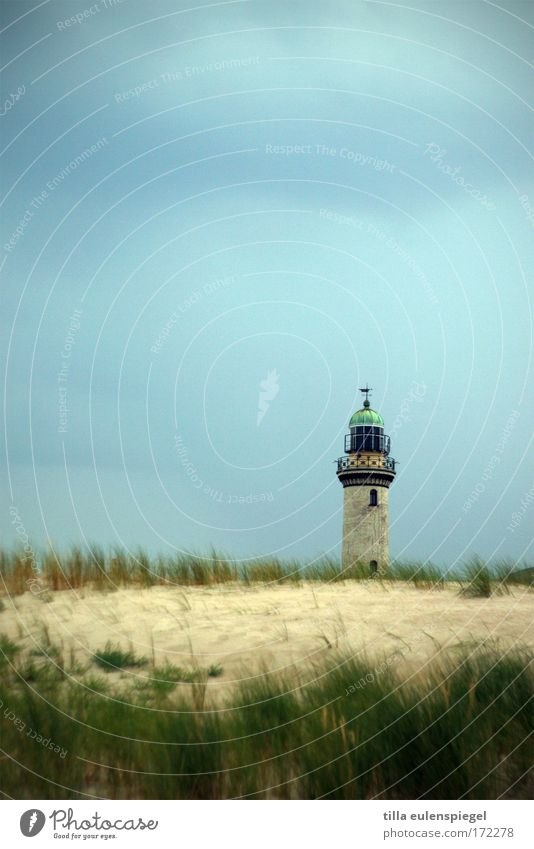cools down. Colour photo Deserted Copy Space top Nature Coast Baltic Sea Warnemünde Germany Lighthouse Calm Day