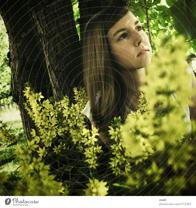 hide Colour photo Exterior shot Day Shadow Sunlight Deep depth of field Portrait photograph Looking away Feminine Young woman Youth (Young adults) Head