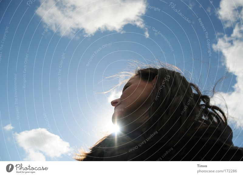 under the blue sky Feminine Woman Adults Head Hair and hairstyles Face 1 Human being Sky Clouds Sun Sunlight Wind Observe Looking Dream Happy Contentment