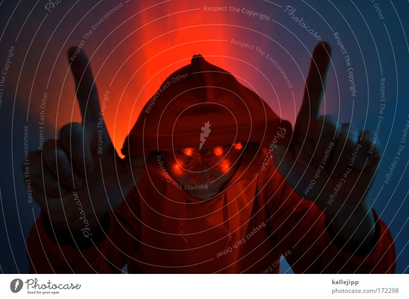 Human being Man Hand Red Joy Adults Head Music Dance Glittering Crazy Illuminate Fingers Lifestyle Eyeglasses Evil