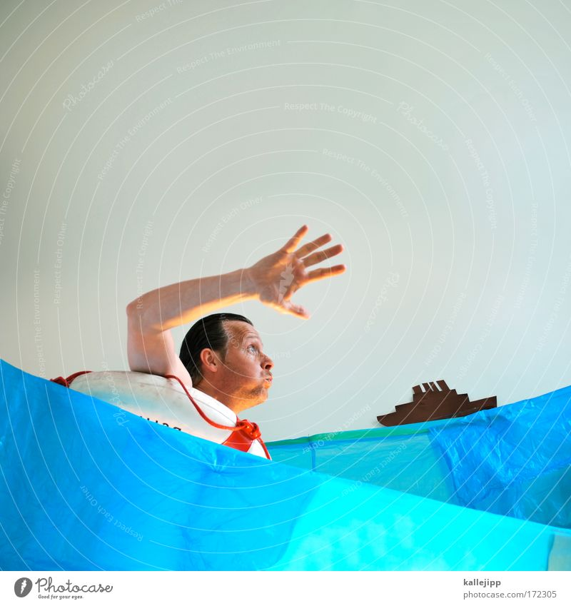 rescue package Colour photo Multicoloured Interior shot Studio shot Experimental Copy Space top Day Upper body Forward Human being Man Adults Life Skin Head
