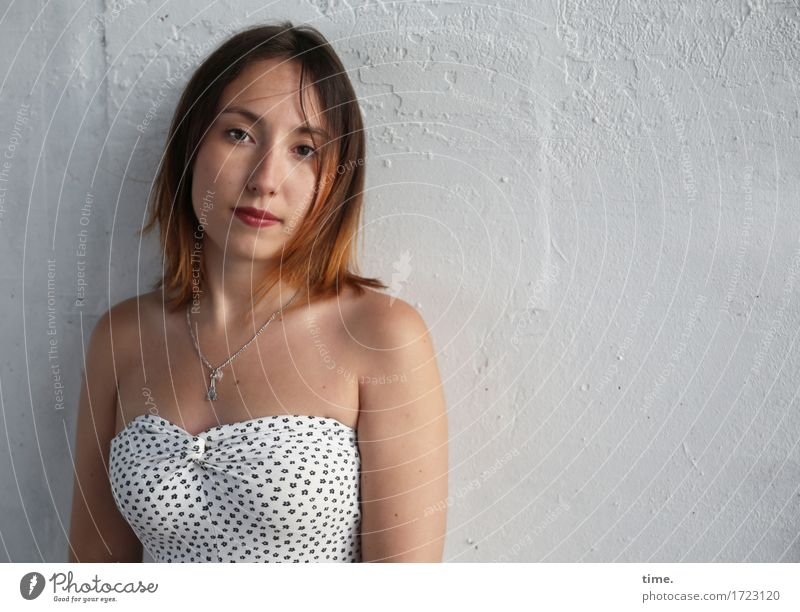 . Feminine 1 Human being Wall (barrier) Wall (building) Dress Jewellery Necklace Brunette Long-haired Observe Looking Wait Beautiful Emotions Self-confident