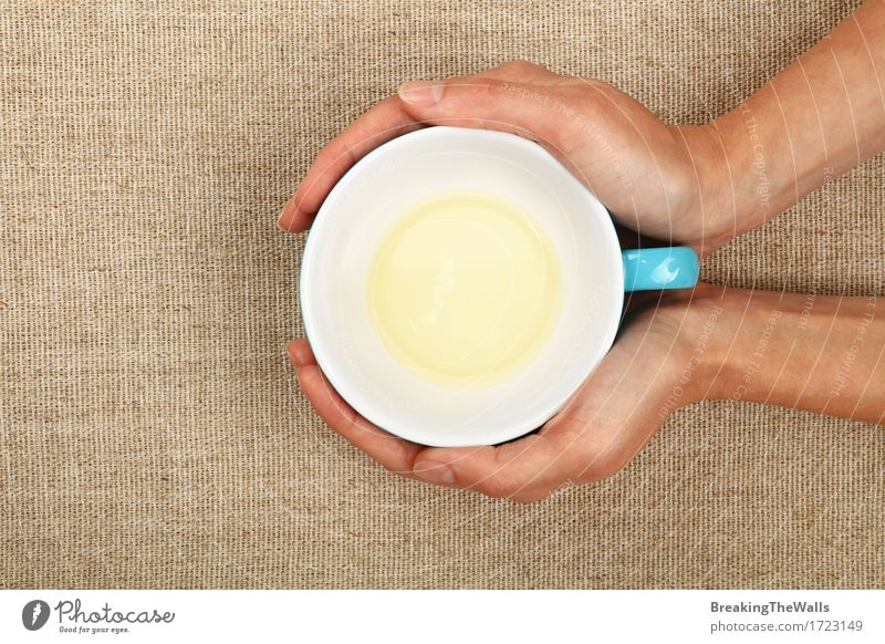 Two woman hands holding empty finished cup of green tea Woman Blue Green White Hand Adults Vantage point Energy Warm-heartedness Beverage Drinking To hold on Hot Tradition Tea Safety (feeling of)
