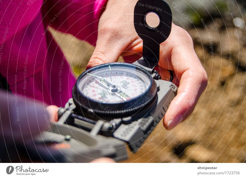 hiking day Healthy Fitness Vacation & Travel Tourism Freedom Safari Expedition Mountain Hiking Compass (Navigation) Human being Feminine Young woman