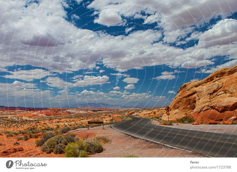 desert road valley of fire Landscape Sand Clouds Sun Summer Beautiful weather Rock Desert Nevada Street Movement Discover Driving Looking Authentic Free Bright