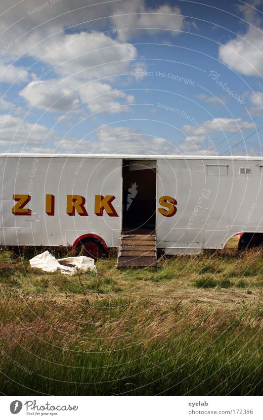 ZIRK[ ]S Colour photo Exterior shot Detail Copy Space top Copy Space bottom Day Shadow Sunlight Long shot Services Art Artist Stage Puppet theater Circus Event