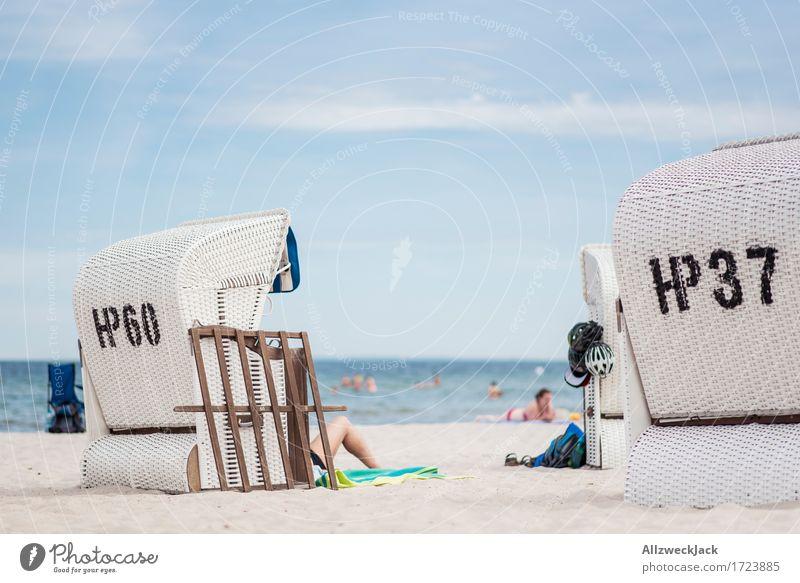 Beachlife 1 Vacation & Travel Summer Summer vacation Sun Ocean Human being Life Contentment Joie de vivre (Vitality) Beach chair Baltic Sea Colour photo