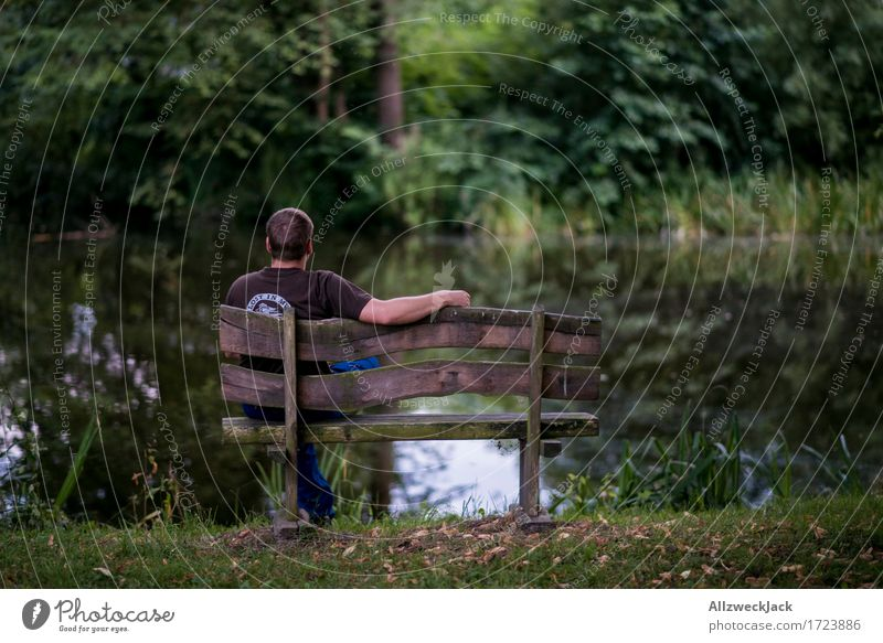 Break at the village pond 2 Masculine Young man Youth (Young adults) 1 Human being 18 - 30 years Adults Nature Park Pond Green Contentment Concentrate Calm