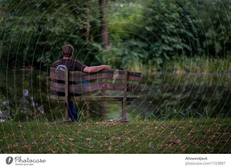 Human being Nature Youth (Young adults) Green Young man Loneliness Calm 18 - 30 years Adults Masculine Park Contentment Break Pond Park bench