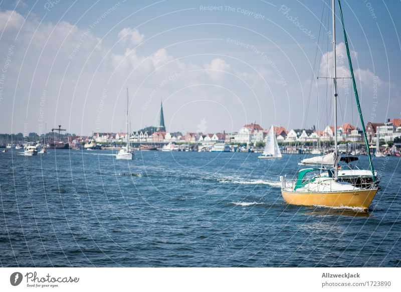 Rush hour in Travemünde Vacation & Travel Summer Summer vacation Sun Ocean Sailing TRavemünde Port City Driving Maritime Blue Watercraft Boating trip Sailboat