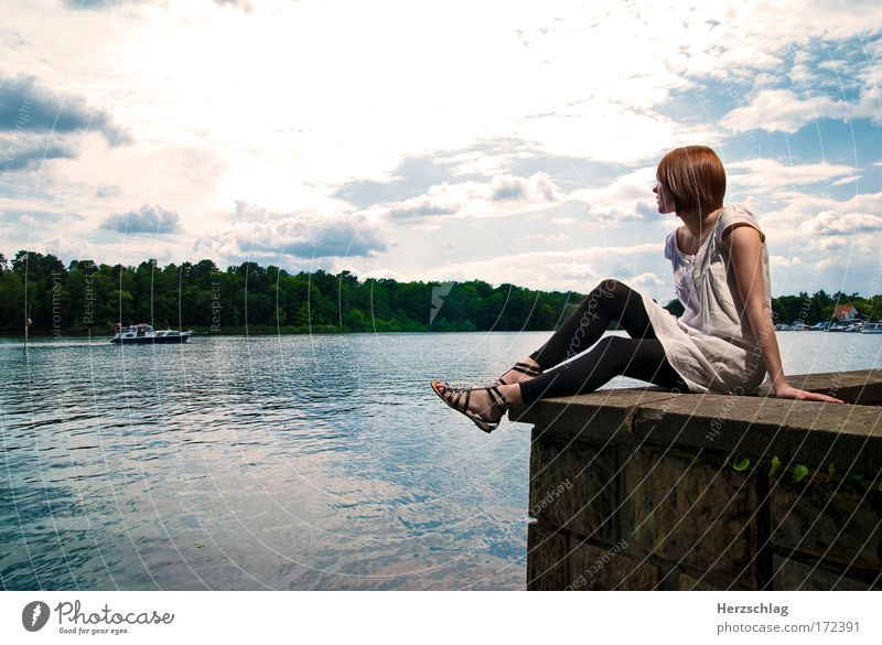 every girl need a friend Colour photo Exterior shot Copy Space right Day Artificial light Sunlight Wide angle Looking away Feminine 1 Human being Water Sky Lake