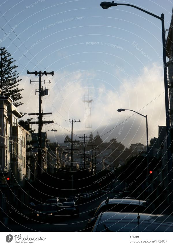 the fog Sky Clouds Weather Fog Hill San Francisco USA Town Deserted House (Residential Structure) Transport Motoring Street Traffic light Car Driving Dark Blue