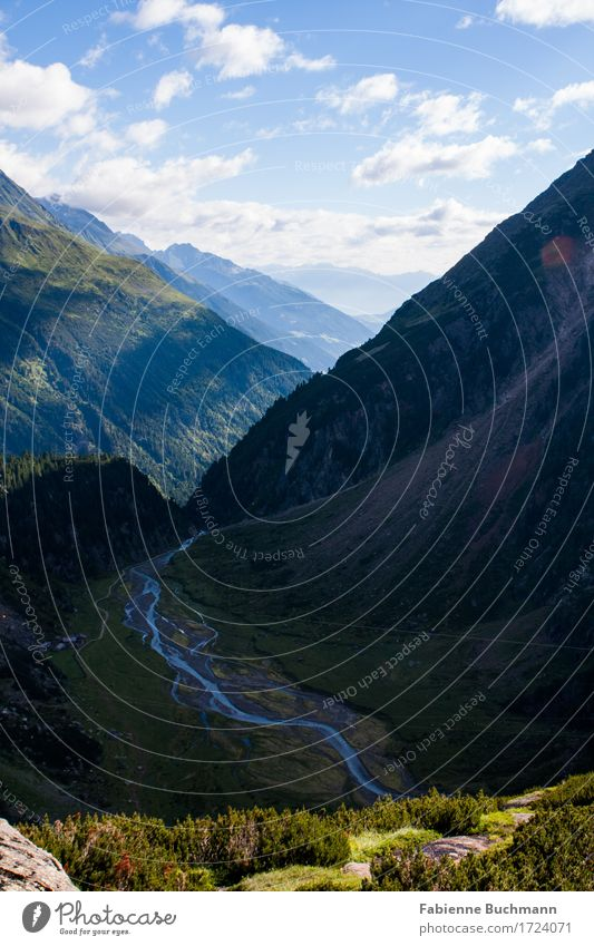 farsightedness Nature Landscape Water Clouds Summer Beautiful weather Forest Alps Mountain Stubaital River Hiking Blue Gray Green White debris cone Valley