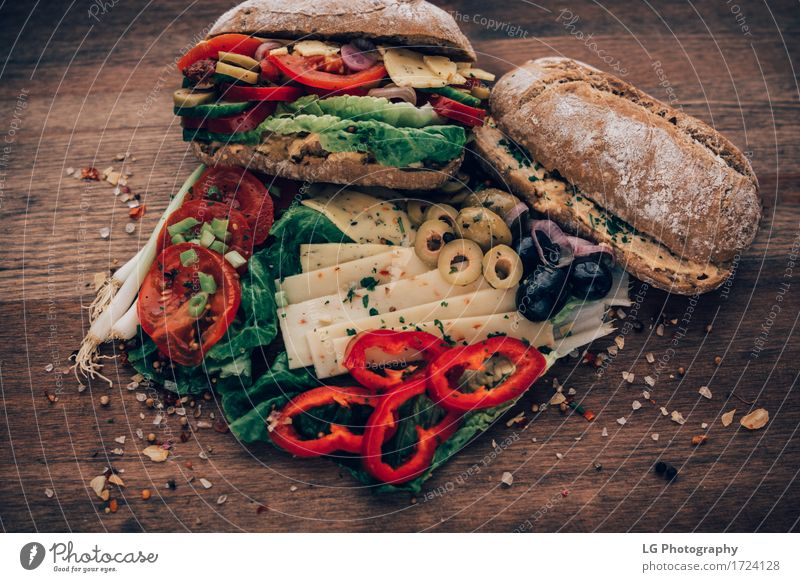 Sandwich made from everything in the refrigerator. Food Cheese Vegetable Bread Herbs and spices Eating Lunch Buffet Brunch Vegetarian diet Kitchen Delicious