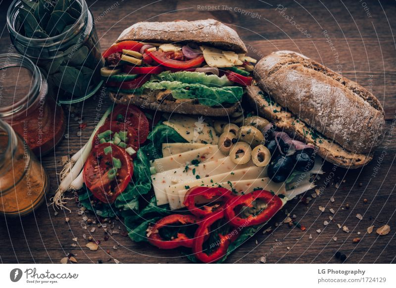 Sandwich made from everything in the refrigerator. Food Cheese Vegetable Bread Herbs and spices Eating Lunch Vegetarian diet Kitchen Delicious Yellow Green Red