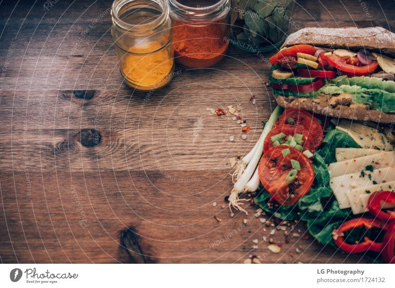 Sandwich on a wooden surface Green Red Eating Yellow Food Herbs and spices Kitchen Delicious Vegetable Appetite Bread Still Life Meal Vegetarian diet Lunch