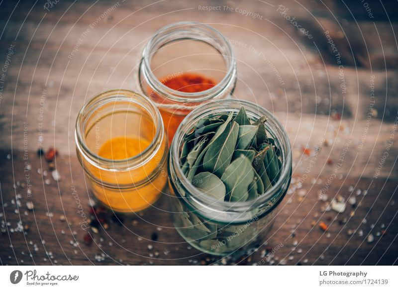 Spices in jars Green Red Leaf Natural Wood Herbs and spices Kitchen Delicious Surface Dried Horizontal Rustic Ingredients Powder Organic Culinary