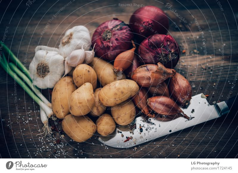 Food still life flavorful ingredients Colour Green Red Leaf Yellow Natural Fresh Herbs and spices Kitchen Still Life Root Rustic Ingredients Potatoes Powder