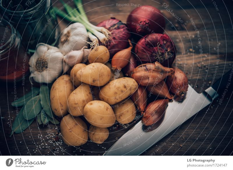 Food still life flavorful ingredients Herbs and spices Kitchen Leaf Fresh Natural Yellow Green Red Colour bay leaves board bulbs colorful cooking flavors food