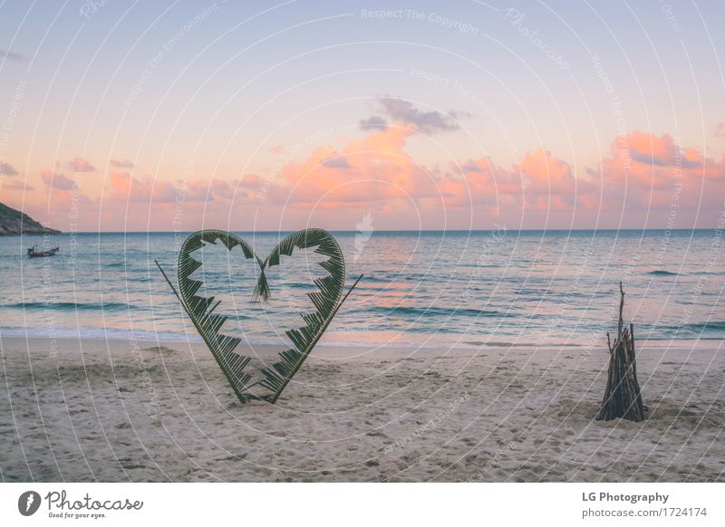 Palm branches tied into the shape of a heart on the beach. Joy Beautiful Vacation & Travel Tourism Beach Ocean Island Valentine's Day Nature Plant Sand Sky