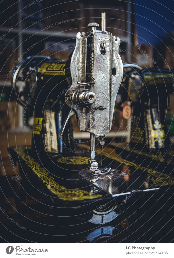 Vintage Sewing Machines Metal Old Retro Needle Industrial Fashion Colour photo Close-up Detail Deserted