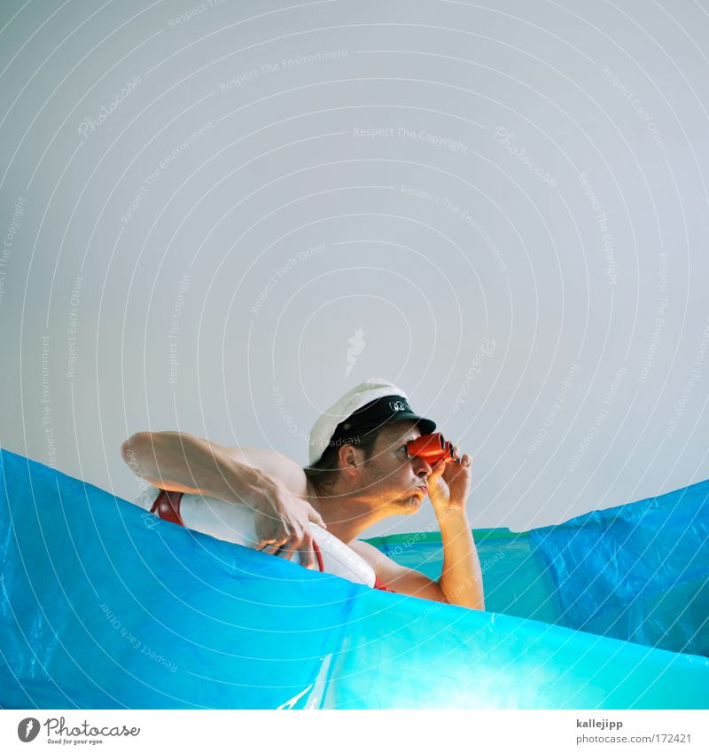 Human being Man Water Blue Ocean Adults Head Waves Horizon Safety Historic Stage play Discover Rescue Set Binoculars