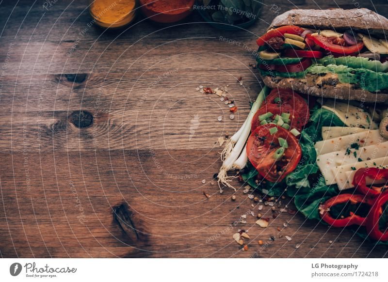 Sandwich made from everything in the refrigerator. Green Red Yellow Eating Food Herbs and spices Kitchen Delicious Vegetable Appetite Bread Still Life Meal Vegetarian diet Lunch Cheese