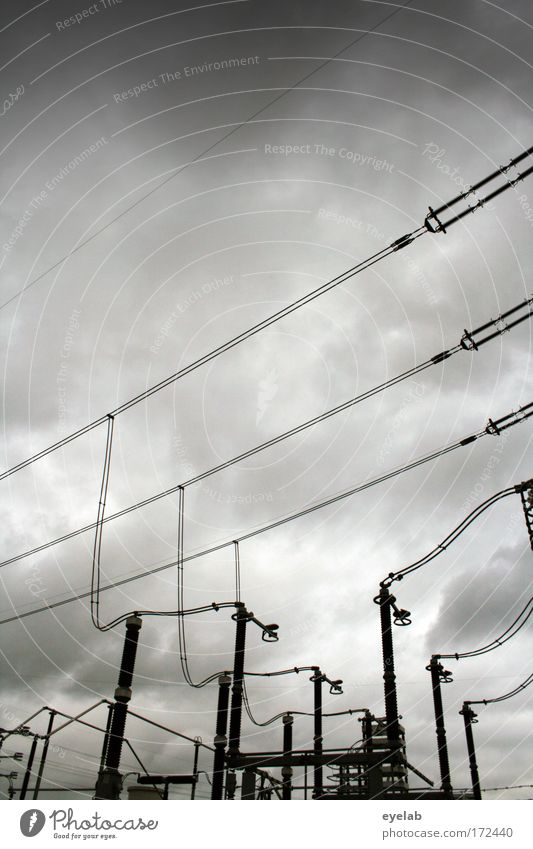 Sky Clouds Gray Rain Power Energy industry Electricity Cable Safety Network Industry Technology Transmission lines Complex Bad weather Industrial plant
