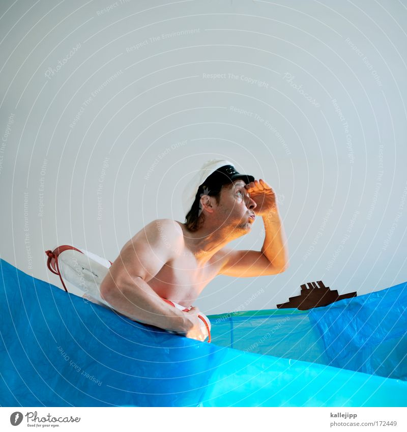 Human being Man Nature Water Hand Ocean Adults Naked Head Waves Body Arm Skin Swimming & Bathing Observe Hat