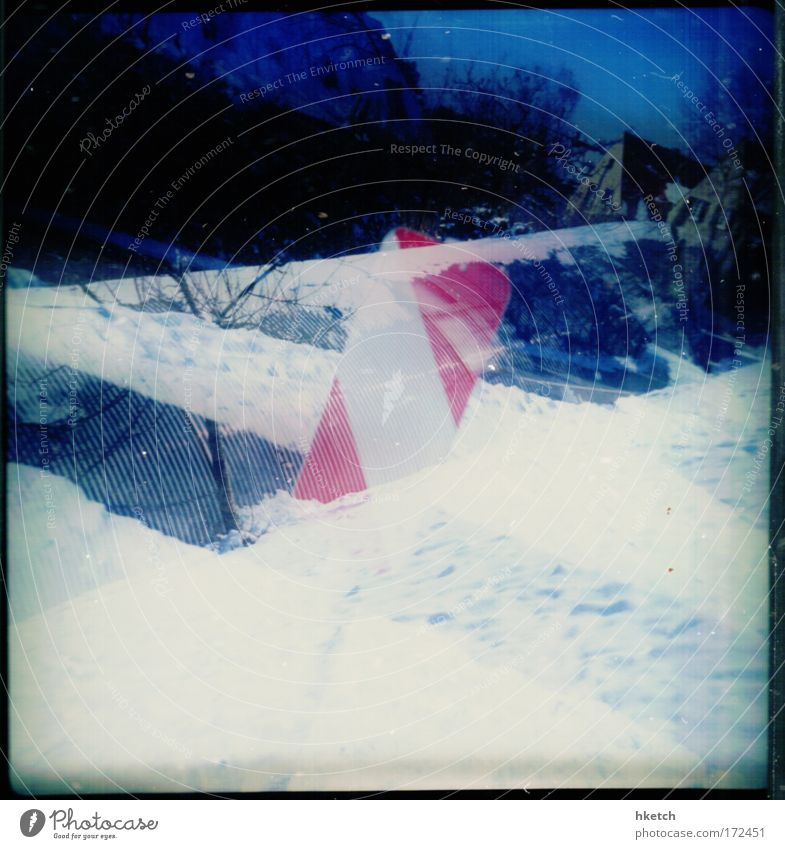 White Blue City Red House (Residential Structure) Street Cold Snowfall Analog Lomography Double exposure Road sign Outskirts Scan