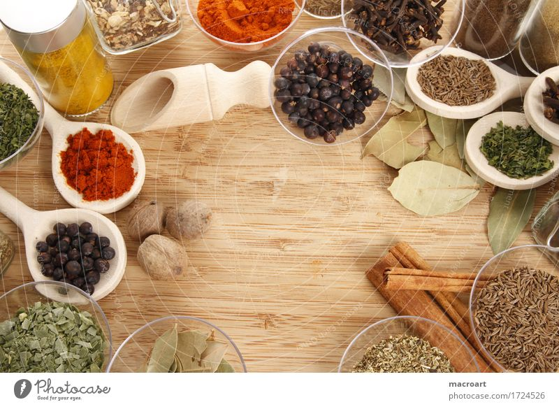spices Herbs and spices Chives Parsley Dill Pepper Curry powder Cumin Wooden board Wooden spoon Red Green Ingredients Healthy Eating Dish Food photograph Basil