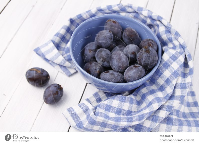 little plum Plum Bowl country house style Wooden board Wooden table Blue Tablecloth Fruit Healthy Eating Food photograph Nutrition Checkered Pattern White