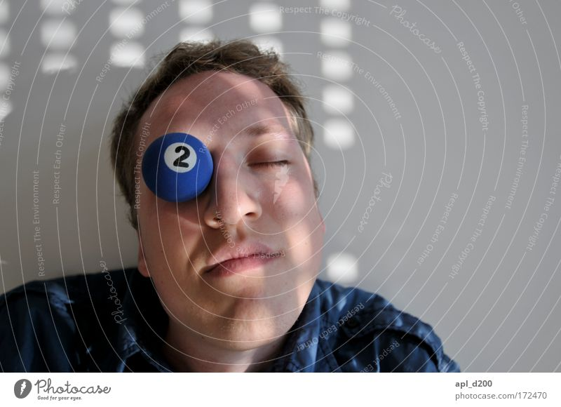 Stupid in one eye Colour photo Interior shot Day Light Shadow Portrait photograph Upper body Pool (game) Human being Masculine Young man Youth (Young adults)