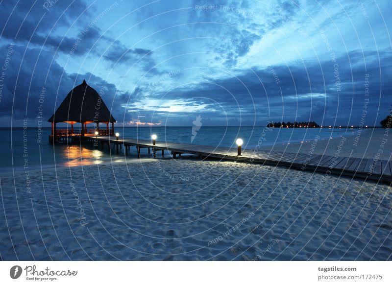 Ocean Blue Summer Beach Clouds Relaxation Dream Vacation & Travel Sand Lighting Wellness Island Tourism Asia Night Footbridge