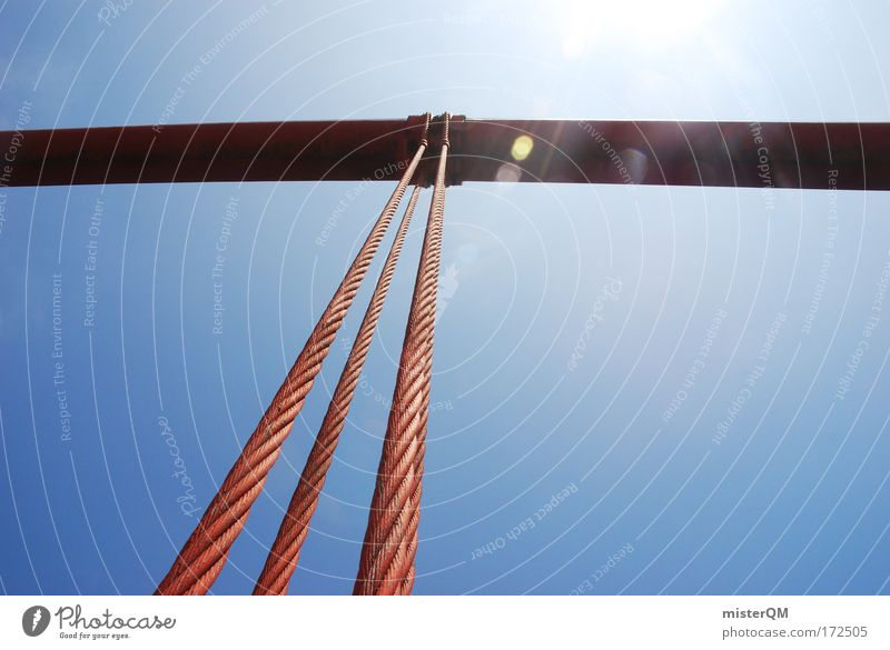 Summer Power Architecture Rope Tall Bridge Future USA Tourism Construction site Firm Steel Rust Manmade structures Column