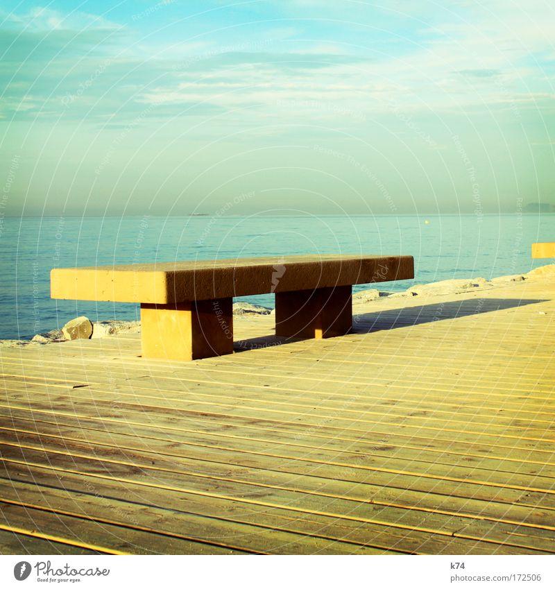 Ocean Blue Calm Loneliness Yellow Far-off places Colour Wood Lake Horizon Empty Bench Simple Footbridge Minimal Simplistic