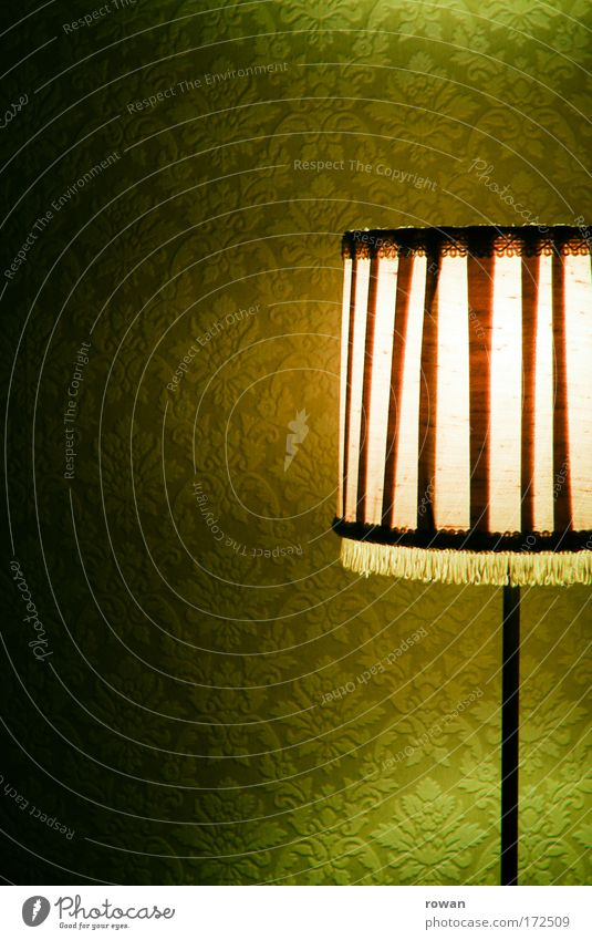 Old Green Lamp Dark Warmth Orange Retro Light Living or residing Room Wallpaper Illuminate Living room Cozy Ancient Lampshade
