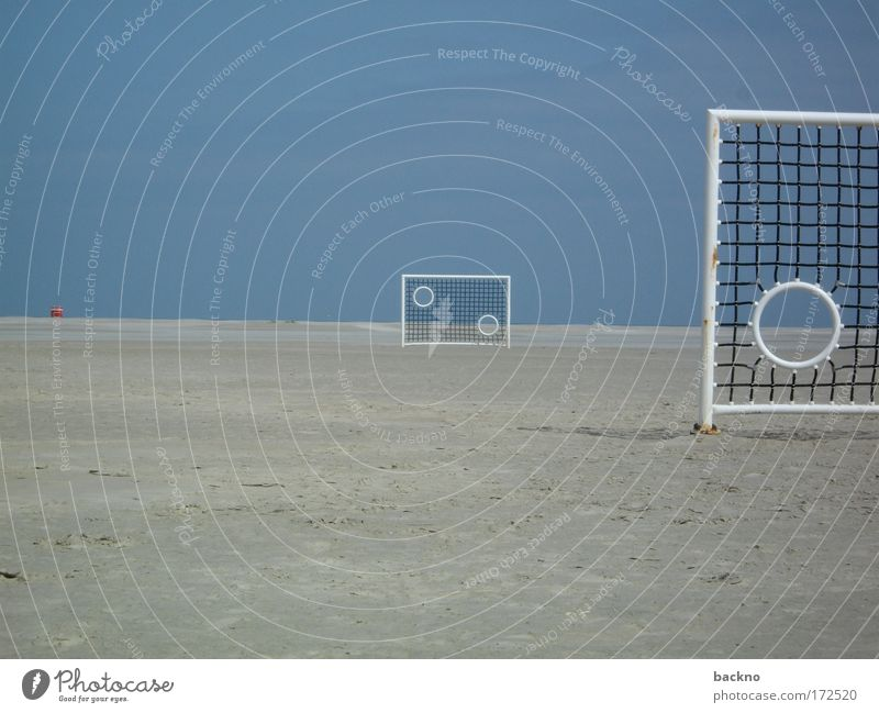 beach gate Colour photo Exterior shot Abstract Deserted Copy Space left Copy Space top Copy Space bottom Day Sunlight Long shot Soccer Goal Vacation & Travel