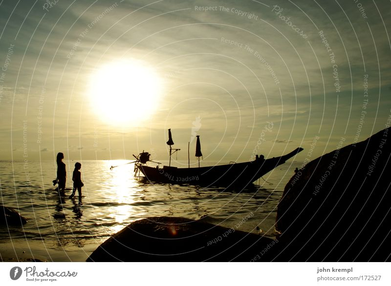150 --- already beautiful Colour photo Subdued colour Twilight Back-light Coast Beautiful Ocean Watercraft Beach Sunset Romance Longing Thailand Ko Tao
