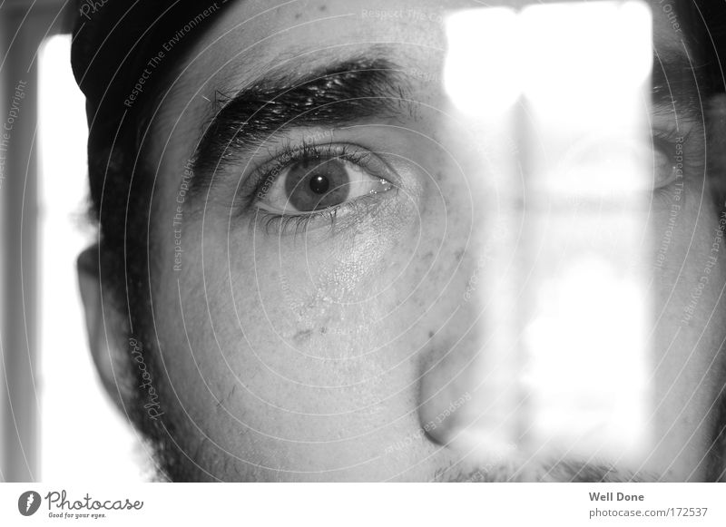 transparency Human being Masculine Man Adults Face Eyes 1 18 - 30 years Youth (Young adults) Bizarre Vista Transparent Light Looking Black & white photo
