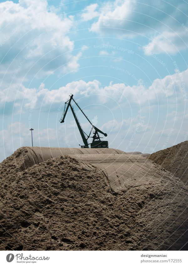 Sky Clouds Sand Construction site Machinery Crane Beige Construction machinery Image format Sandheap