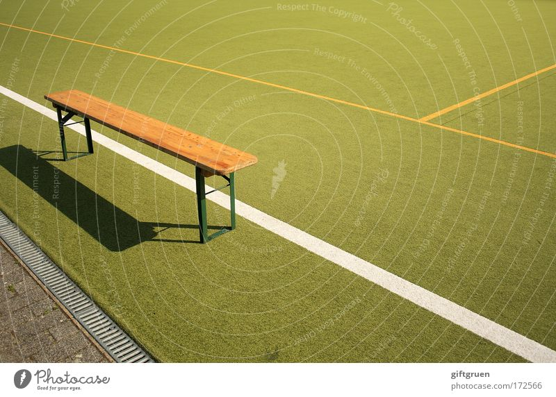 substitutes' bench Colour photo Deserted Day Leisure and hobbies Playing Sports Ball sports Sportsperson Goalkeeper Referee Sporting event Sporting Complex