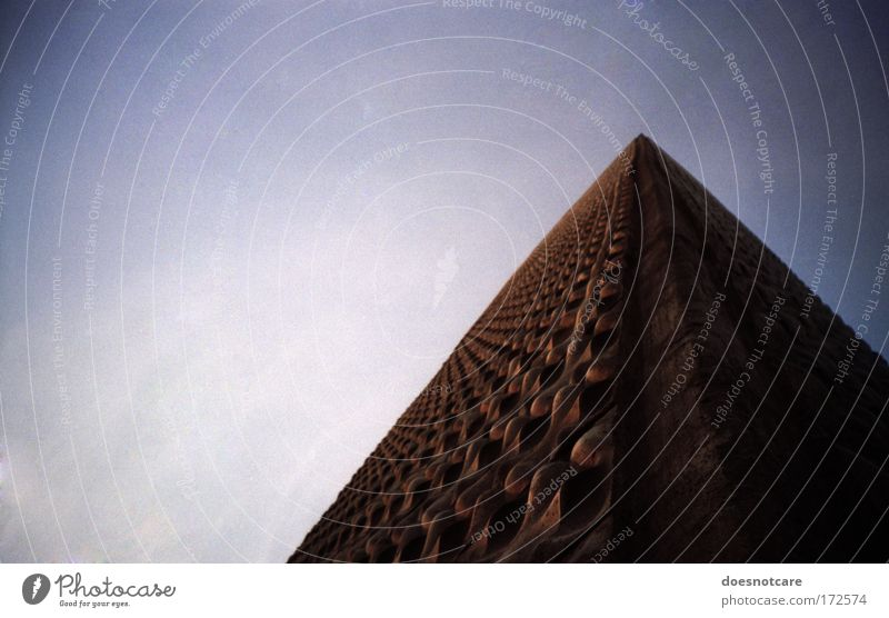 Sky Blue House (Residential Structure) Dark Wall (building) Building Brown Architecture High-rise Tall Facade Corner Threat Violet Analog