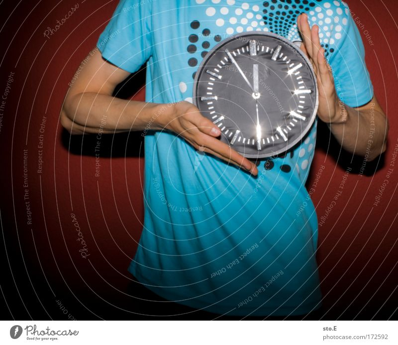 Man Blue Red Adults Life Style Work and employment Glittering Masculine Clock Speed Lifestyle Round T-shirt Digits and numbers Kitsch