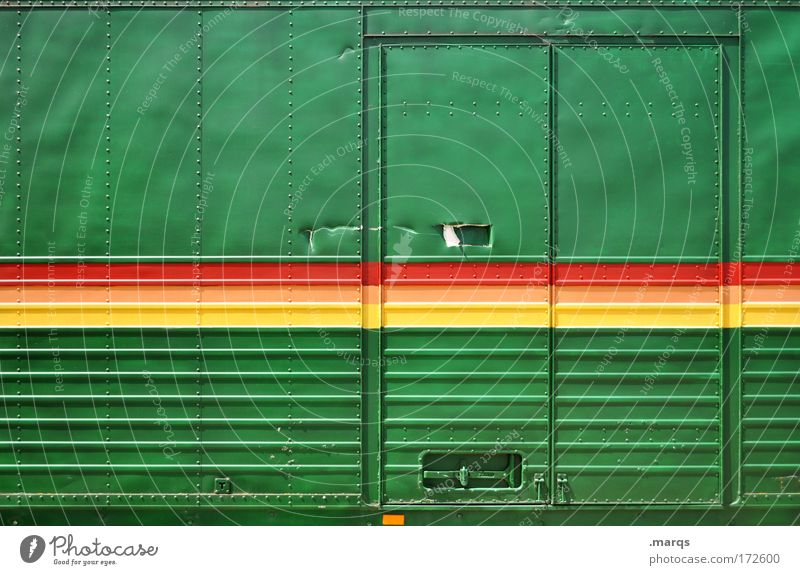 reggae Colour photo Multicoloured Exterior shot Long shot Lifestyle Style Economy Logistics Services Door Transport Means of transport Truck Metal Line Stripe