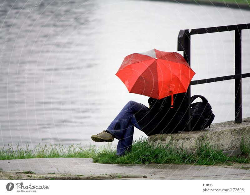Red Street Gray Lanes & trails Lake Rain Wet Sit Break Umbrella Lakeside Handrail Pond Protection Edge