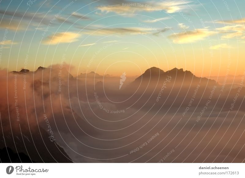 high up Colour photo Aerial photograph Deserted Copy Space top Copy Space bottom Evening Sunrise Sunset Panorama (View) Climbing Mountaineering Landscape Air