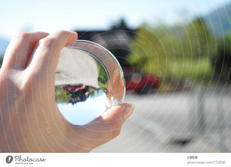 Hand Sky Green Red Summer Street Car Landscape Road traffic Transport Fingers Human being Might Reflection Observe Village